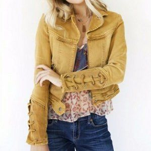Free People Yellow Denim Moto Jacket Lace Up Cuffs